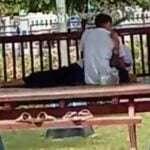 Ciuman bergairah di salah satu gazebo Taman Wijaya Kusuma (tangkapan layar)