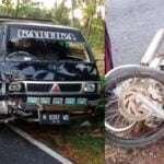 Pikap dan motor terlibat kecelakaan lalu lintas di Sumnenep (Ist)