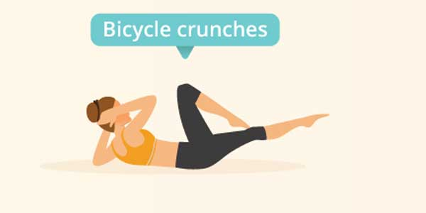 Bicycle Crunches Olahraga mengecilkan perut buncit